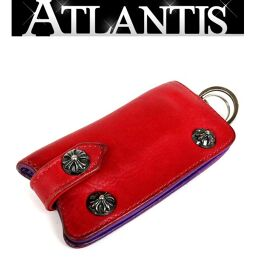 Ginza store Chrome Hearts cross button key case novelty leather key chain silver SV925 red