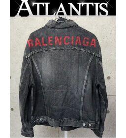 Ginza store Balenciaga logo black denim jacket outer men's black size: 50