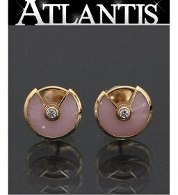 Ginza Store Cartier Amulet Earrings Pink Opal Diamond K18YG Yellow Gold