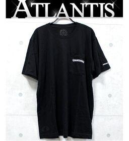 銀座店 クロムハーツ 美品 スクロールラベル プリント Tシャツ 半袖 sizeL 黒