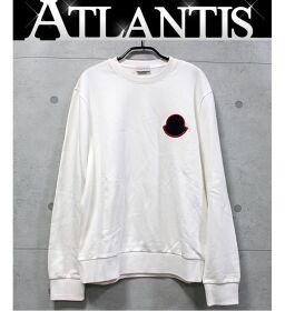 Ginza store Moncler emblem plain crew neck sweatshirt long sleeve tops white size: L