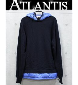 Ginza store Moncler knit combination hooded down navy x blue size: L