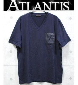Ginza store Prada plain V-neck short sleeve shirt SNJ251 R191 710 navy size: 2XL