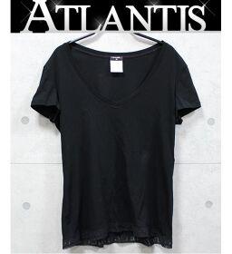 Ginza store Chanel hem lace plain V-neck T-shirt Ladies black size: 40