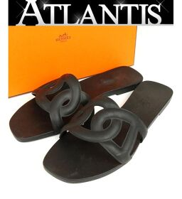 Ginza store Hermes Chene Dunkle rubber sandals shoes size: 37 black