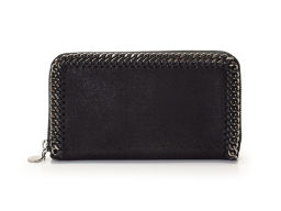 Second hand Stella McCartney Farabella round fastener wallet Black fake leather unused STELLA Mc