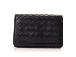 Used Bottega Veneta Card Case Black Lambskin BOTTEGA VENETA