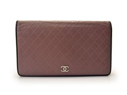 Second-hand Chanel 2 fold wallet Matrasse leather CHANEL ◇