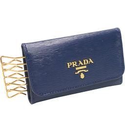 プラダ 6連キーケース ヴィッテロムーブ(1PG222) カーフ(ブルー)