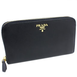 プラダ ラウンドファスナー長財布 サフィアーノメタル(1M0506) 型押しカーフ(黒)