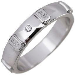 ハリーウィンストン K18WG ダイヤ1P HWロゴリング 指輪(リング) 15号