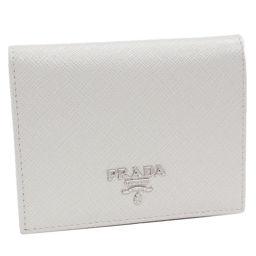 プラダ 小銭入れ付二つ折り財布 (1MV204) 型押しカーフ(TALCO・黒)(アイボリー・黒)