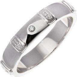 ハリーウィンストン K18WG ダイヤ1P HWロゴバンドリング 指輪(リング) メンズリング 18号