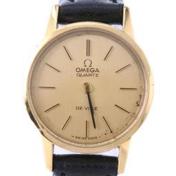 OMEGA オメガ デヴィル デビル ステンレススチール×レザー ブラック クオーツ レディース ゴールド文字盤 腕時計【中古】