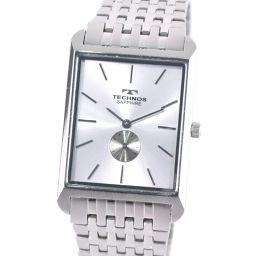 TECHNOS テクノス SAPHIRE スモールセコンド T9268SS ステンレススチール クオーツ メンズ シルバー文字盤 腕時計【中古】A-ランク