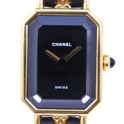 CHANEL シャネル プルミエールM GP×レザー ゴールド クオーツ レディース 黒文字盤 腕時計【中古】