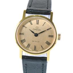 OMEGA オメガ デヴィル cal.40 482661 レザー×GP ゴールド 手巻き レディース ゴールド文字盤 腕時計【中古】