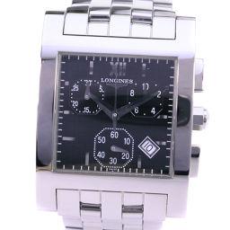 LONGINES ロンジン ドルチェビータ L5.668.4 ステンレススチール シルバー クオーツ メンズ 黒文字盤 腕時計【中古】Aランク