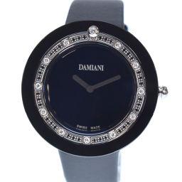Damiani ダミアーニ ベルエポック 12Pダイヤ BCLSDB37 サテン×ステンレススチール ブラック クオーツ メンズ ネイビー文字盤 腕時計【中古】Aランク