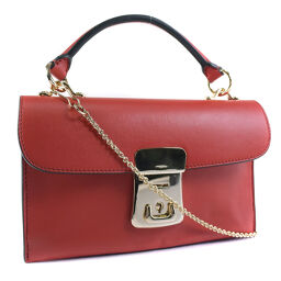 theory Theory 2WAY Shoulder Calf Red Ladies Handbag [Used] A + Rank