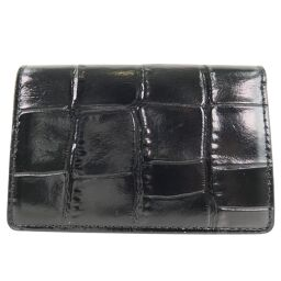 COACH Coach Business Card Holder Leather Black Men's Card Case [Used] A + Rank