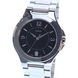 COACH コーチ 7.148.945 ステンレススチール シルバー クオーツ レディース 黒文字盤 腕時計【中古】