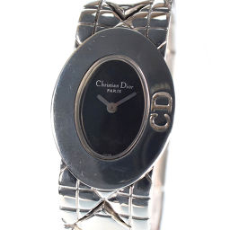 Christian Dior クリスチャンディオール レディディオール D90-100 ステンレススチール シルバー クオーツ レディース 黒文字盤 腕時計【中古】A-ランク