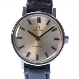 OMEGA オメガ ステンレススチール×レザー 黒 手巻き レディース シルバー文字盤 腕時計【中古】