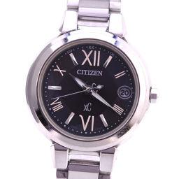 CITIZEN シチズン クロスシー H058-T016545 XCB38-9131 ステンレススチール グレー ソーラー電波時計 レディース 黒文字盤 腕時計【中古】