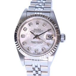 ROLEX ロレックス デイトジャスト 10Pダイヤ 79174NG K18ホワイトゴールド×ステンレススチール シルバー 自動巻き レディース シェル文字盤 腕時計【中古】A-ランク