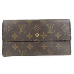LOUIS VUITTON Louis Vuitton Portofeuil International M61217 Monogram Canvas Brown TH0071 Engraved Unisex Wallet [Used]
