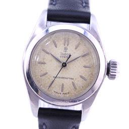 TUDOR チュードル 薔薇 7905 ステンレススチール×レザー 手巻き レディース 白文字盤 腕時計【中古】