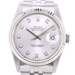 ROLEX ロレックス デイトジャスト 10Pダイヤ 16234G ステンレススチール 自動巻き メンズ シルバー文字盤 腕時計【中古】A+ランク