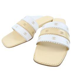 CHANEL Coco Mark Calf Beige Women's Sandals [Used] S Rank