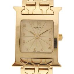 HERMES エルメス Hウォッチ HH1.285 K18イエローゴールド ゴールド クオーツ レディース ゴールド文字盤 腕時計【中古】Aランク