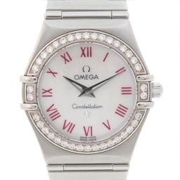 OMEGA オメガ コンステレーションミニ ダイヤベゼル 1476.63 ステンレススチール シルバー クオーツ レディース シェル文字盤 腕時計【中古】Aランク