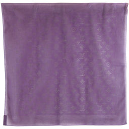 LOUIS VUITTON Louis Vuitton Monogram Pattern Cotton Purple Ladies Scarf [Used] A rank