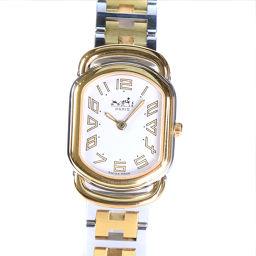 HERMES エルメス ラリー ステンレススチール×GP ゴールド クオーツ レディース 白文字盤 腕時計【中古】A-ランク