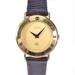 GUCCI グッチ 3000L GP×レザー 茶 クオーツ レディース ゴールド文字盤 腕時計【中古】