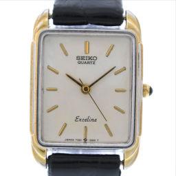 SEIKO セイコー エクセリーヌ 7321-5790 ステンレススチール×レザー ゴールド クオーツ レディース アイボリー文字盤 腕時計【中古】