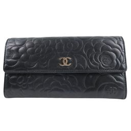 CHANEL Chanel Camellia A48684 Lambskin Black Ladies Wallet [Used]