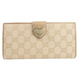 GUCCI Gucci Heart 203550 GG Canvas Beige Ladies Long Wallet [Used]