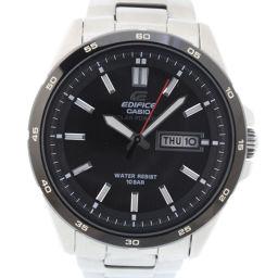 CASIO カシオ エディフィス EFR-100SBBJ ステンレススチール シルバー クオーツ メンズ 黒文字盤 腕時計【中古】A-ランク