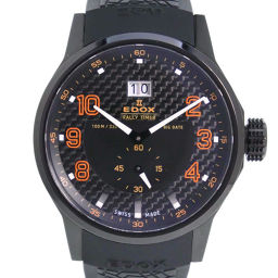 EDOX EDOX Rally timer 64008-37N-NOR Stainless steel × rubber orange quartz men's black face watch [pre-owned] A rank