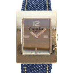 Christian Dior クリスチャンディオール マリススクエア D78-159 GP×デニム ブルー クオーツ レディース ゴールド文字盤 腕時計【中古】