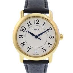 COACH コーチ W505 GP×レザー ゴールド クオーツ ユニセックス 白文字盤 腕時計【中古】