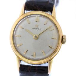 OMEGA オメガ GP×レザー ゴールド 手巻き レディース シルバー文字盤 腕時計【中古】