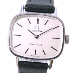OMEGA Omega Stainless Steel × Leather Hand-rolled Ladies Silver Dial Watch [Pre]