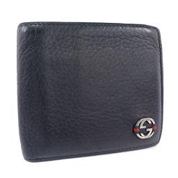 GUCCI グッチ 308795 レザー 黒 メンズ 二つ折り財布【中古】