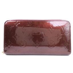 LOUIS VUITTON Louis Vuitton Zippy Wallet Round Zipper M93575 Monogram Verni Violet Red Unisex Wallet [Used]